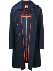 Santoni Layered Single Breasted Coat Blue