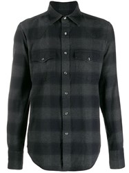 Tom Ford Long Sleeved Check Shirt Black