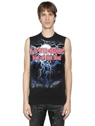 Dsquared Printed Cotton Jersey Sleeveless T Shirt
