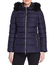 Add Down Mid Length Fur Trim Puffer Coat Navy