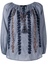 Steffen Schraut Embroidered Sequin Blouse Blue