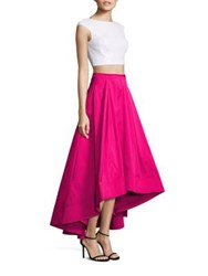 Aidan Mattox Two Piece Sequin Cropped Top And Hi Lo Skirt Ivory Fuchsia