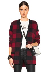 Current Elliott Cardigan Sweater In Red Checkered And Plaid