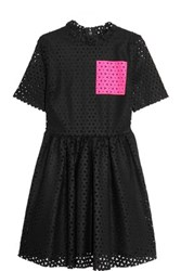 Msgm Laser Cut Wool Felt Mini Dress Black
