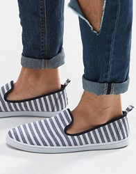 New Look Striped Slip On Plimsolls In Navy Stripe