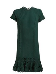 Jonathan Simkhai Cut Out Hem Stretch Knit Dress Dark Green