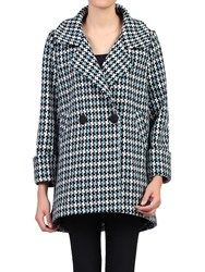 Jolie Moi Houndstooth Cocoon Coat Blue