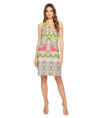Christin Michaels Mordred Lace Shift Dress Pink Lime Aqua Women's Dress Multi