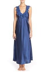 Women's Oscar De La Renta Sleepwear Ruffled Satin Nightgown Navy