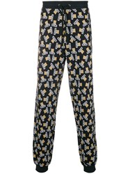 Moschino Printed Drawstring Trousers Black