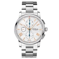 Montblanc 114856 Men's 4810 Automatic Chronograph Date Bracelet Strap Watch Silver White