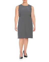 Modamix Plus Buckle Accented Sheath Dress Quiet Shadow