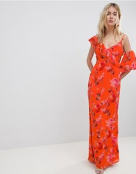 Hope And Ivy Asymmetric Ruffle Shoulder Detail Maxi Dress In Floral Print Orange Print Multi