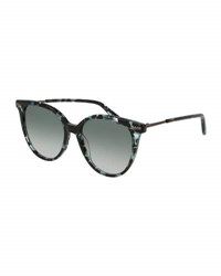 Bottega Veneta Squared Cat Eye Sunglasses Havana Blue Brown Pattern