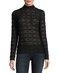 Laundry By Shelli Segal Mock Neck Lace Top Black
