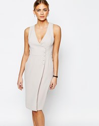 Love Tailored Dress With Button Up Light Gray