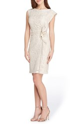 Tahari Ruffle Lace Sheath Dress Champagne