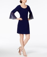 Msk Faux Pearl Bell Sleeve Dress Midnight