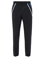 Valentino Contrast Stripe Wool Blend Trousers Navy
