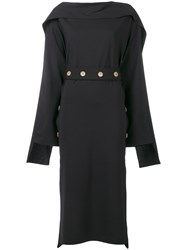 Awake A.W.A.K.E. Long Sleeve Flared Midi Dress Black