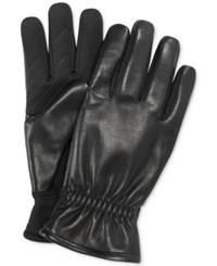 Fownes Ur Gloves Gathered Leather Back Stretch Tech Palm Gloves Black