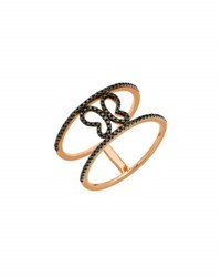 Casa Reale 14K Rose Gold Black Diamond Butterfly Ring