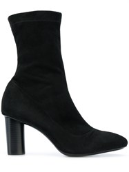 Barbara Bui Heeled Ankle Boots Leather Suede Black
