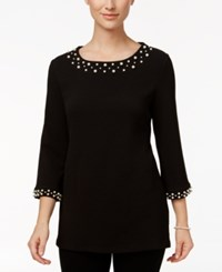 Charter Club Faux Pearl Trim Top Only At Macy's Deep Black