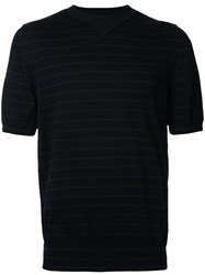 Sacai Striped Knitted Top Men Cotton Cashmere I Black