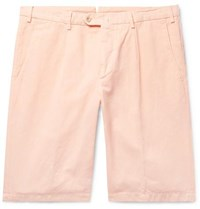 Loro Piana Slim Fit Pleated Cotton And Linen Blend Bermuda Shorts Peach