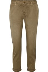 Current Elliott The Buddy Cropped Washed Cotton Twill Tapered Pants Green