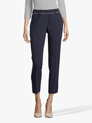 Betty And Co. Crepe Piped Trousers Dark Sapphire