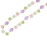 London Road 9Ct Yellow Gold Chain Bloomsbury Necklace Amethyst Lemon Quartz