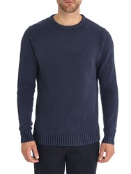Austin Reed Acid Wash Cable Knit Jumper Navy