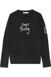 Bella Freud Dear Baby Intarsia Merino Wool Sweater Black
