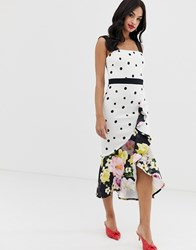 True Violet Exclusive Frill Front Midi Dress In Mixed Polka Floral Print Multi