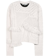 Mcq By Alexander Mcqueen Fringed Wool And Cashmere Sweater Beige