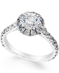 Macy's Certified Diamond Halo Engagement Ring 2 1 3 Ct. T.W. In 18K White Gold