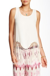 Romeo And Juliet Couture Fringe Tank Beige