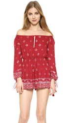 The Jetset Diaries Fuego Romper Red Robe Print