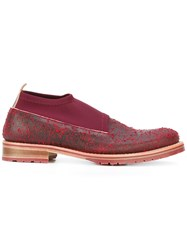 Last Sole Distressed Sock Shoes Men Leather Nylon Rubber 40 Red