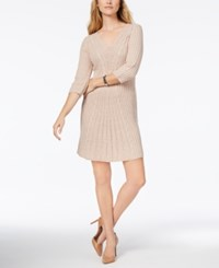 Ny Collection Petite V Neck Cable Knit Sweater Dress Noreen