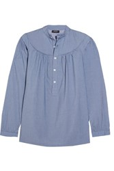 A.P.C. Atelier De Production Et De Creation Ingalls Ruched Striped Cotton Blouse Blue