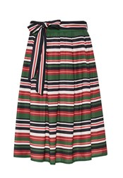 Hallhuber Striped Midi Skirt With Belt Multi Coloured Multi Coloured