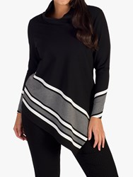Chesca Stripe Border Cowl Neck Top Black Grey