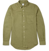 Aspesi Slim Fit Button Down Collar Linen Shirt Green