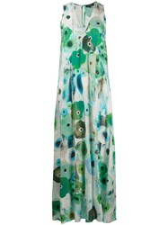Antonelli Abstract Floral Print Dress Green