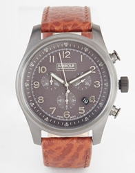 Barbour International Leather Strap Watch Brown