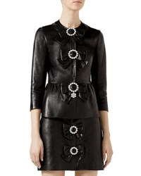 Gucci Leather Bow Jacket Black