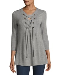 Neiman Marcus Lace Down Split Neck Tunic Gray White